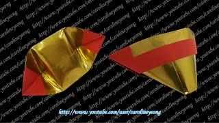 Repeat youtube video 【CYS教程】敬神折纸~元宝《两张》(Origami~Gold Ingot)