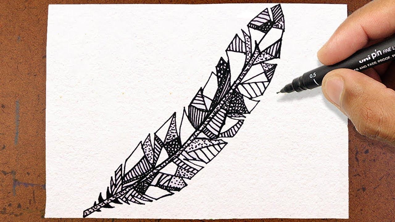 Como Desenhar PENA Tatuagem