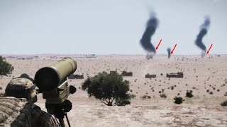AMER CAN Anti-tank In Action - Military Convoy Ambushed By AT Operator AT Missile ARMA 3 Milsim