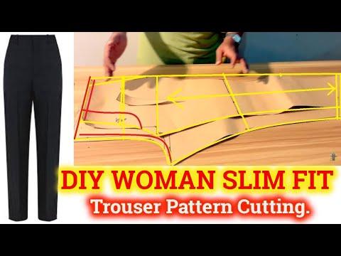 DIY How to Slim Fit Ladies Pant pattern makeing -women Trouser  Pattern Marking Bangli audio