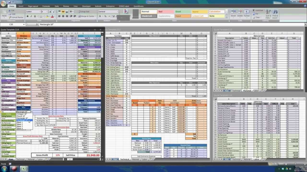 Construction estimating with excel youtube for New home construction cost spreadsheet