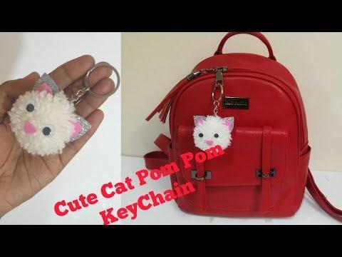 DIY Cute Pom Pom Cat KeyChain / Easy Cat keychain / Pom Pom woolen craft#CuteCat#CatKeyChain