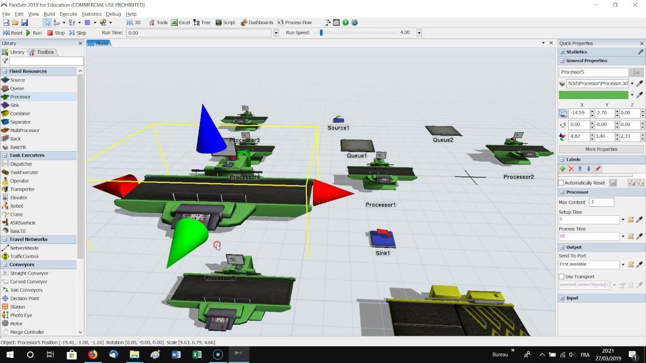 2_Démarrer avec FlexSim (Insertion des objets, navigation vue 3D, rotation  d'un objet)