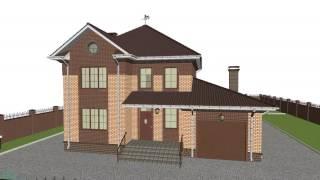 Проект двухэтажного дома на 4 спальни с гаражом C-111-ТП
