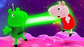 Видео про игрушки из мультфильмов. Свинка Пеппа и Джордж поменялись с инопланетянами? Игры для детей