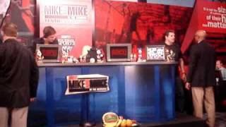 "Mike & Mike 10th Anniversary Show: Mike Golic sucks up to an ESPN big shot.  Whispers ""Dump Greeny"""