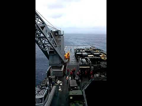 MV-22 Osprey landing on Dock Landing Ship