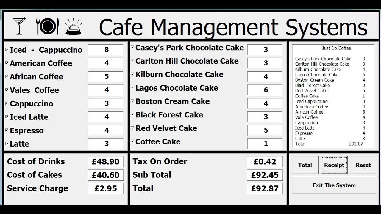 How to Create Cafe Management Systems Using VBA in Excel - Full Tutorial - YouTube