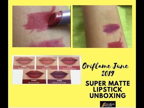 oriflame-june-2019-new-launch-super-matte-lipstick-review-&-unboxing-video