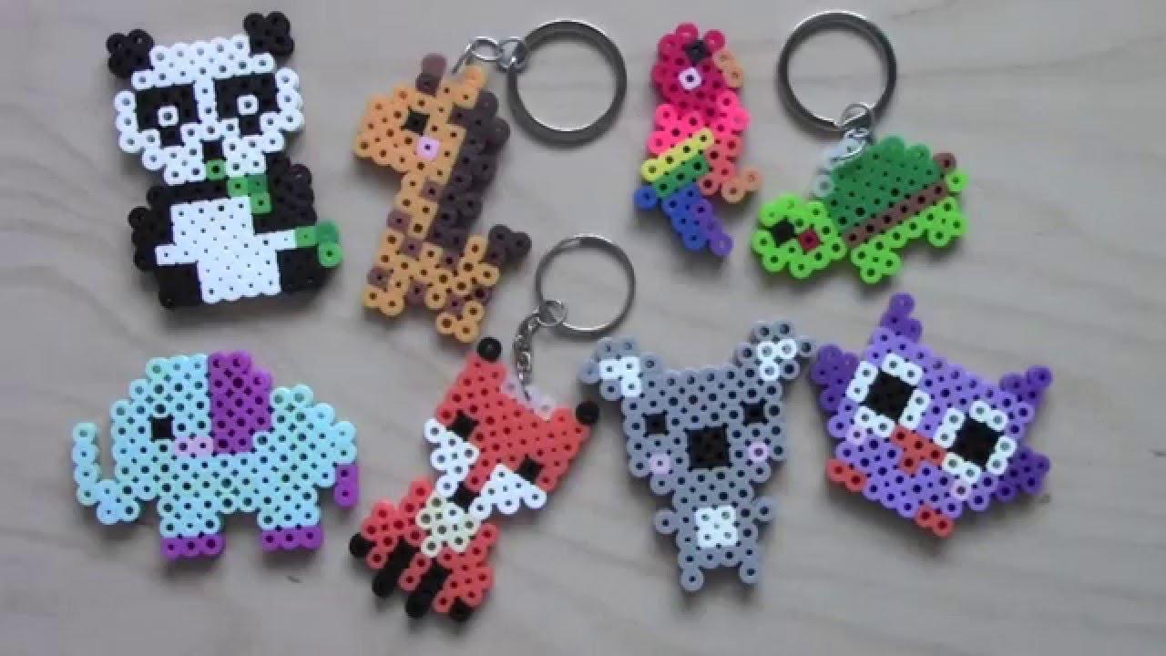 Image of: Mine Craft Youtube Easy Perler Bead Animal Keychains Magnets 1 Youtube