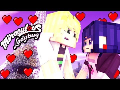 Minecraft Ladybug and Cat Noir Movie 🐞 Adrien KISS Marinette 🐞 Miraculous Ladybug Love Animation