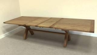 Country Oak 2.4m  - 2 9m  - 3.4m Cross Leg Square End Large Oak Dining Table