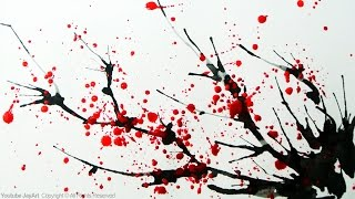 How to Paint a Cherry Blossom Tree in Watercolor - Splatter and Blowing Painting Techniques