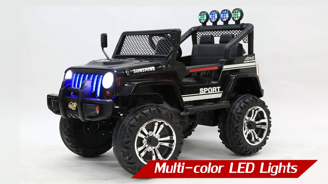 Electric Ride On Jeep Remote Control Off Road Kids Car W Built In Songs Red