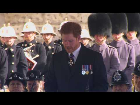 Prince Harry carries out a reading at the Iraq & Afghanistan Memorial