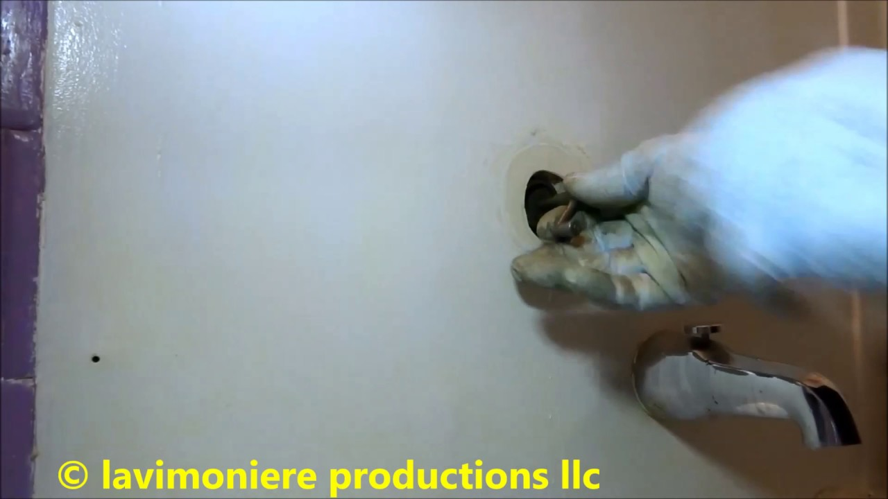 old tub / shower valve leaking water badly - YouTube