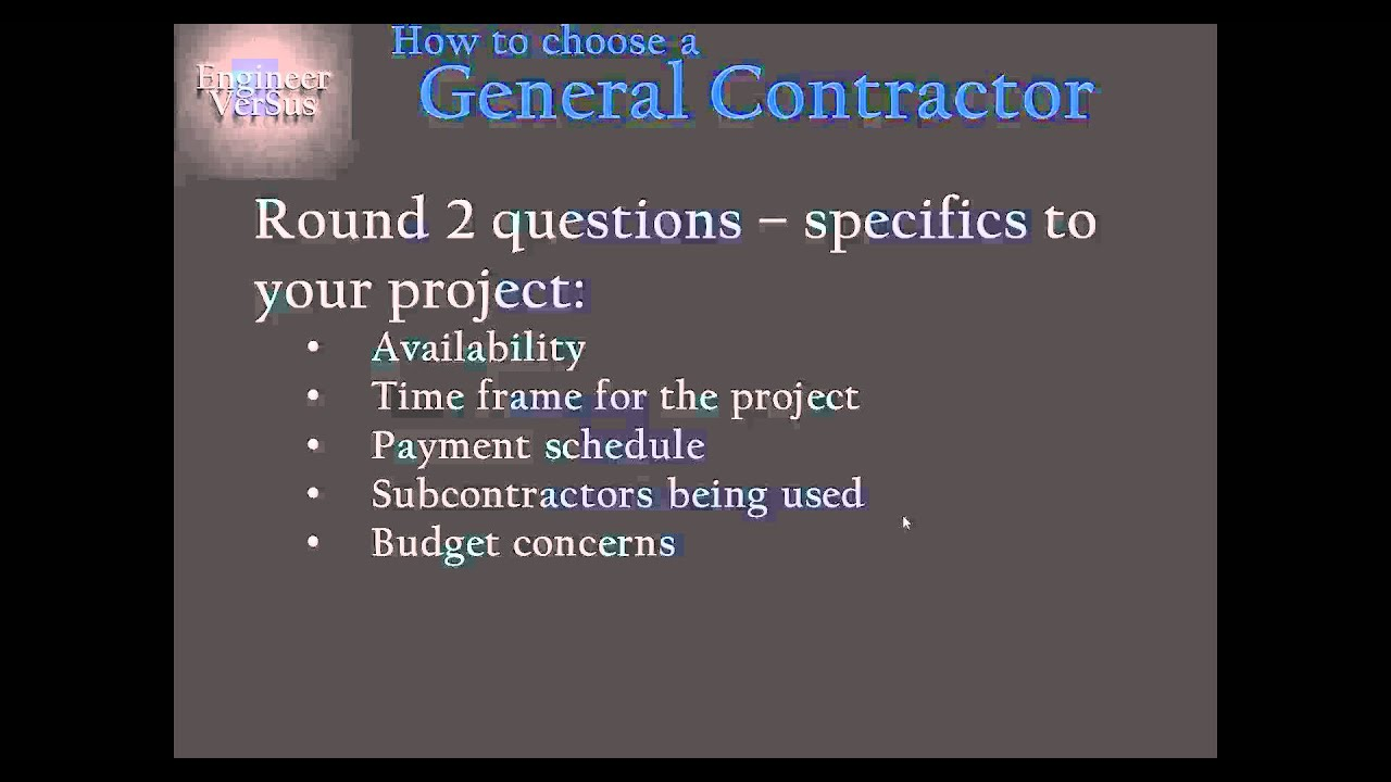 Find A General Contractor 11 Round 2 Questions