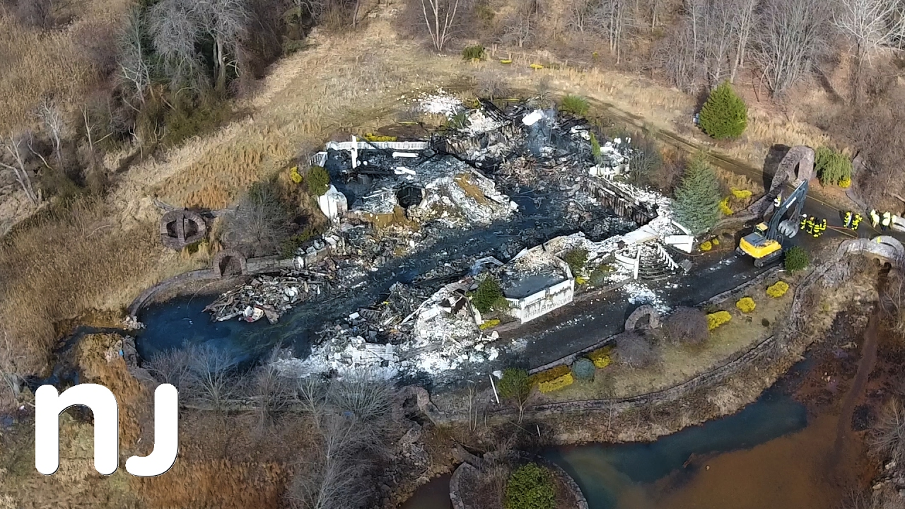 Drone Captures Burned Remains Of 8m Colts Neck Mansion