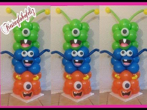 Como hacer columnas de monster university con globos
