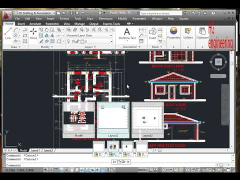 15 Architectural drawing (center line) in AutoCAD