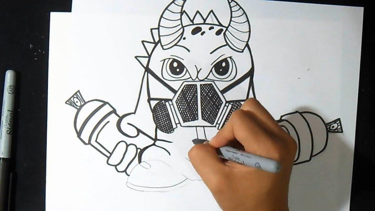 cmo dibujar Dragon con mascara de gas Graffiti  Wizard art  by