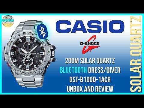 Watch Of Steel! | Casio G-Shock 200m Solar Quartz Bluetooth Watch GST-B100D-1ACR Unbox And Review