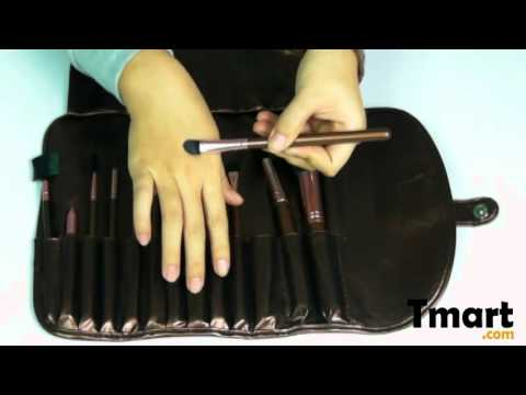 $11.99 13pcs Professional Cosmetic Makeup Brush Set with Wallet-style Bag Brown-10003651