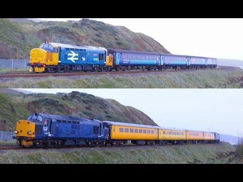 37403 / 37608 & 37611 at Salterbeck on Cumbrian Coast    27/09/16