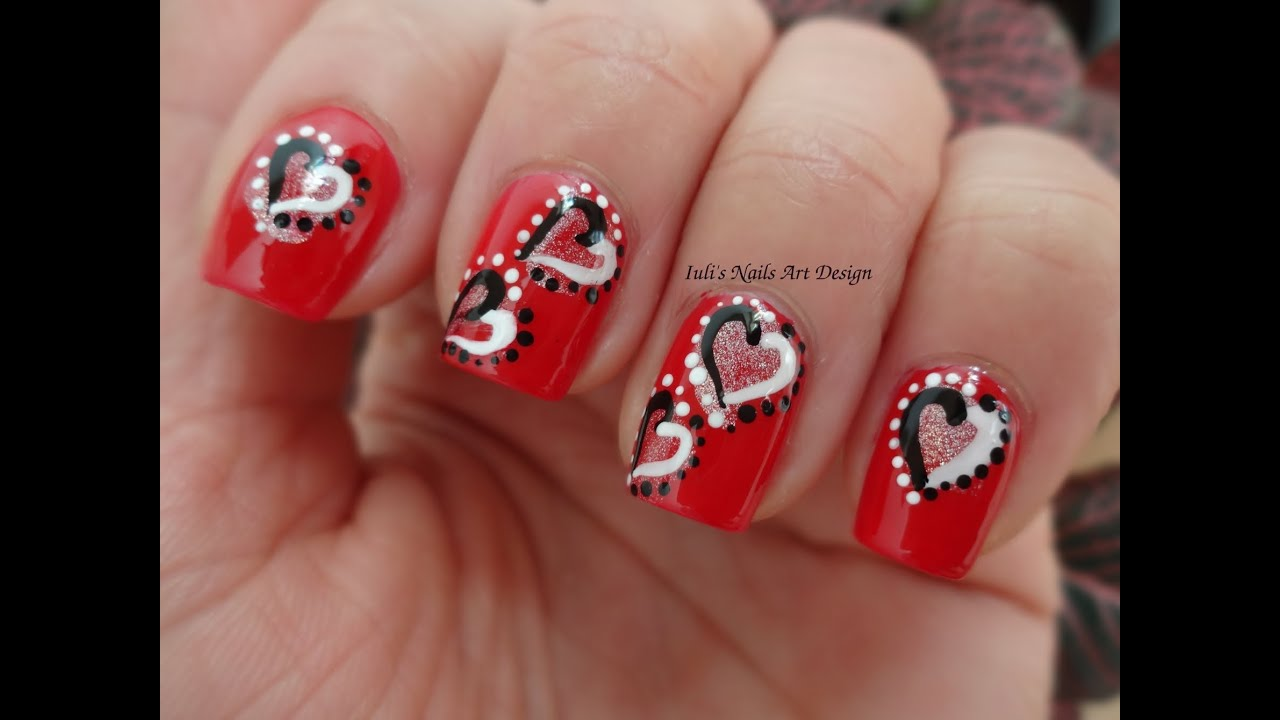 Yin Yang Hearts Valentine Day Nail Art Design Manicure Live Tutorial 2014