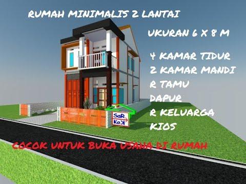 rumah minimalis 2 lantai ukuran 6x8 m - youtube