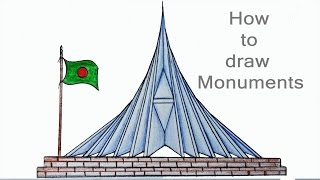 How to draw a Monuments Step by step (very easy)
