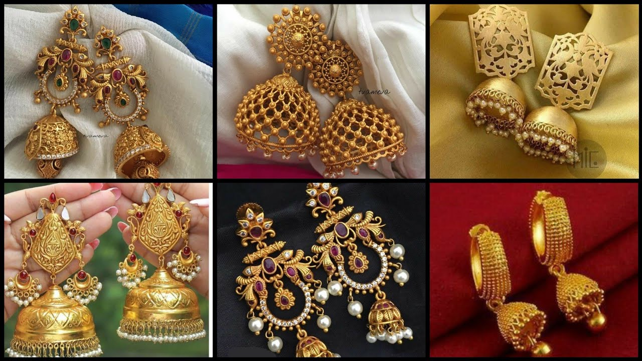 Latest Gold Jhumkas And Earrings Designs/Party Wear gold Earring Style