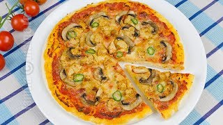 Pizza cu pui si ciuperci   JamilaCuisine