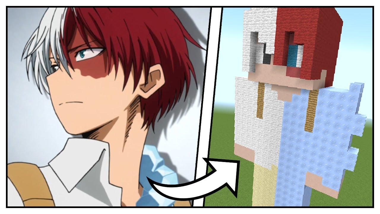 How to Build a Shoto Todoroki Statue (Boku no Hero Academia) - Minecraft