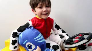 Zack pretend play with color blocks and PJ Masks toys