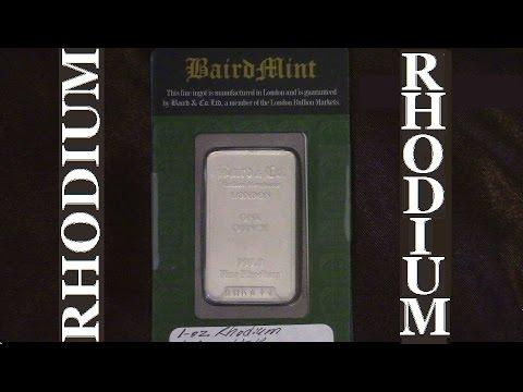 Rhodium Bullion Bar 1 Ounce HD