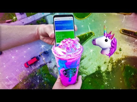 Here's what happens when you stick a Galaxy S8 in a Unicorn Frappuccino and drop it from 100 feet