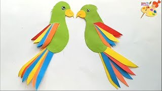 how to make a paper parrot /easy craft for kids