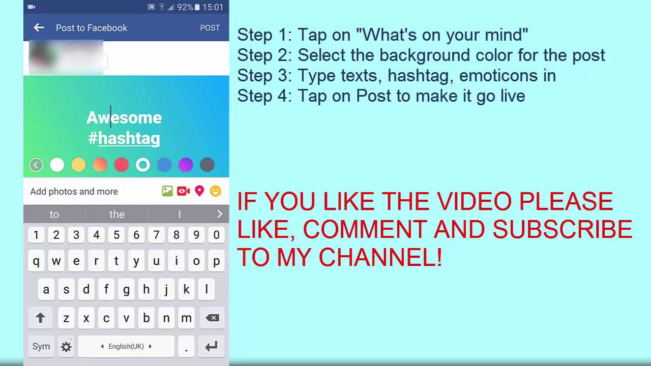 How To Get Facebook Color Status Ios Android Facebook For Web F F  B