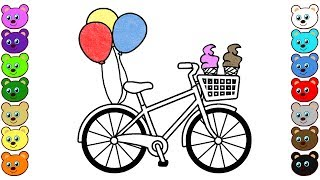 How to Draw Bicycle Bike with Ice Cream & Balloons - Coloring Pages for Kids