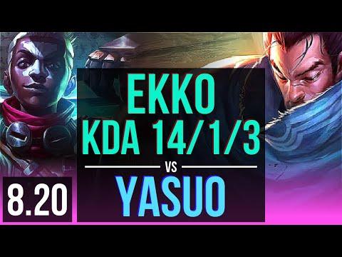 EKKO vs YASUO (MID)   KDA 14/1/3, Legendary   Korea Diamond   v8.20