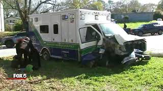 Wild ambulance chase and crash