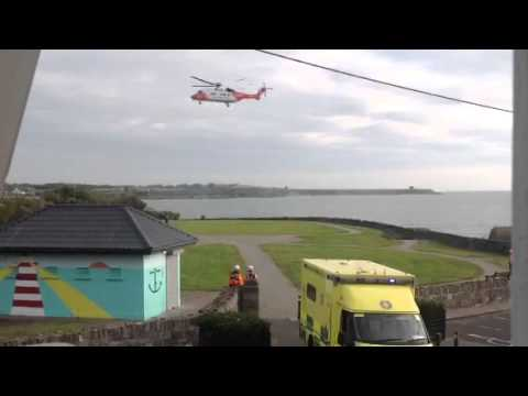 Irish coast guard helicopter in work to save lives