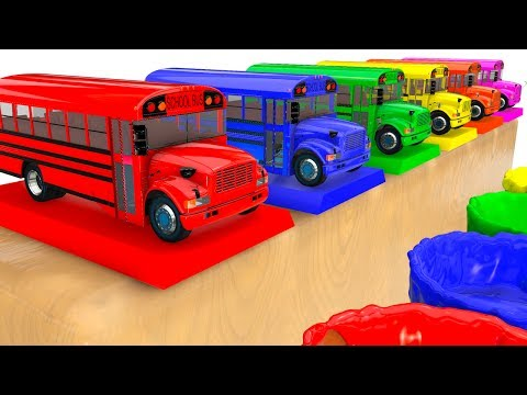 BUS COLOR for Kids - Learn Cars w Learning Educational Video - 3D Superheroes for babies