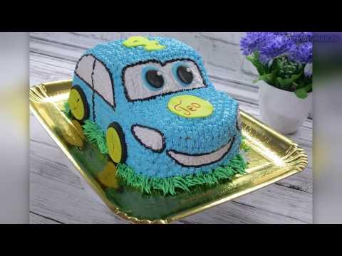 Детский торт машина. Как сделать торт машину 3 Д из крема.