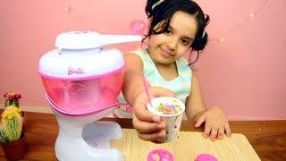 لعبة ماكينة الايس كريم الحقيقية من باربي العاب الطبخ للبنات real ice cream maker toy game