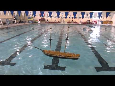 US Brig Niagara model float test with masts and bowsprit