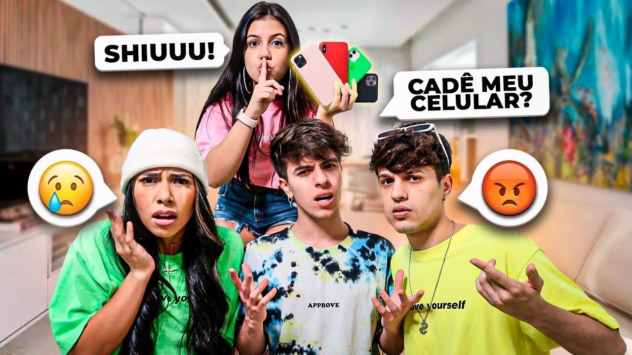 ESCONDI OS CELULARES DOS YOUTUBERS!!! *ficaram bravos*