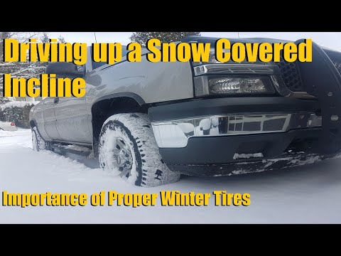 2WD vs 4WD Polished Snow/ Icy Incline Challenge (All Season vs Winter Tires)