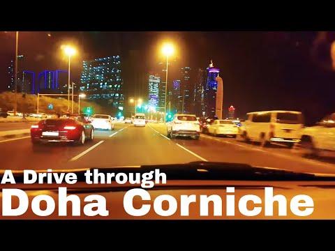 A Night Drive through Doha Corniche